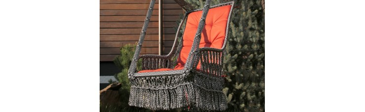 Подвесное кресло качели ИНКА с подушкой + балдахин