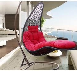 Подвесное кресло-шезлонг Relaxa Black (стойка оплетена ротангом)