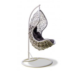 Подвесное кресло Lotos White (стойка оплетена ротангом)
