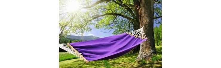 гамак из льна с планкой фиолетовый