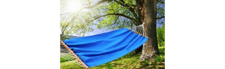 Гамак из льна с планкой синий