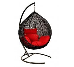Подвесное кресло Tropica Black 115х105 (стойка оплетена ротангом)