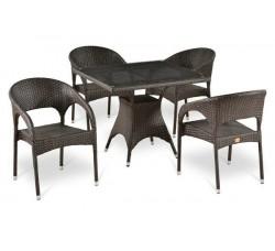 Комплект садовой мебели 4+1 (иск. ротанг) T-220BT-Y-90B-W51