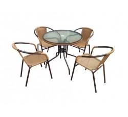 Набор мебели Николь-1А (иск. ротанг) капучино