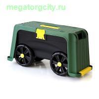 Скамейка-перевертыш садовая Helex с ящиком на колесах 4в1. зеленый черный