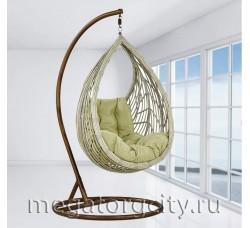 Плетеное подвесное кресло Капля (N886-W72) 128х89х76 см молочное