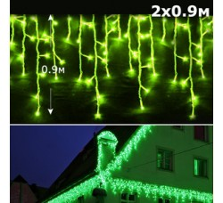 Led бахрома 2x0,9м зеленый