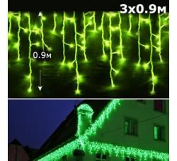 Led бахрома 3x0,9м зеленый