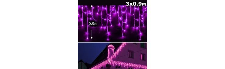 Led бахрома 3x0,9м розовый