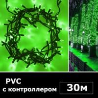 LED нить 30м с контроллером зеленый