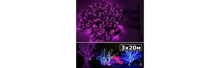 LED нить 5 нитей по 20м с контроллером розовый