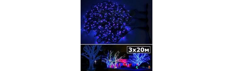 LED нить 5 нитей по 20м с контроллером синий
