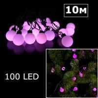 LED гирлянда шарики 10м розовый