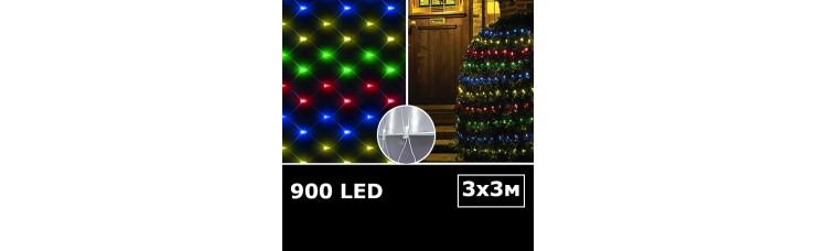 Cветодиодная сетка с одинарными светодиодами 3х3м RGBY