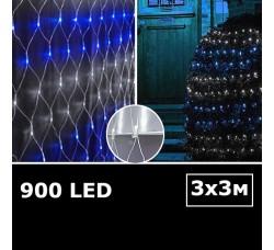 Cветодиодная сетка с одинарными светодиодами 3х3м сине-белый