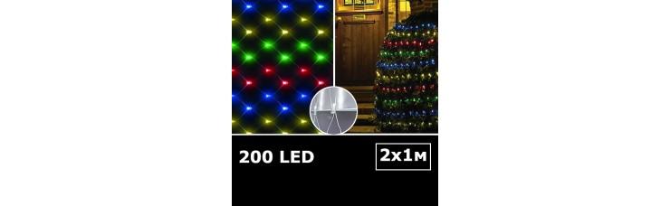 LED сетка с одинарными светодиодами 2х1м RGBY с контроллером