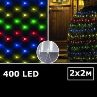 LED сетка с одинарными светодиодами 2х2м RGBY с контроллером