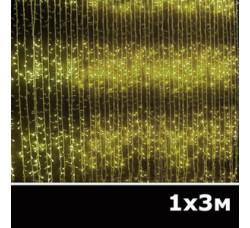 LED занавес водопад 1x3м желтый