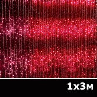 LED занавес водопад 1x3м красный