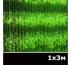 LED занавес водопад 1x3м зеленый