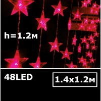 Светодиодный занавес Звезда 1,4х1,2м красный