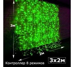 Светодиодный занавес с контроллером 2х3 зеленый